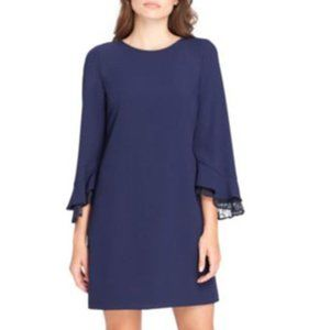 Tahari Lace Trim Bell-Sleeve Shift Dress Navy